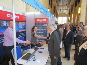 Lord David Puttnam visiting the stand of the UK turbine manufacturer Gilkes