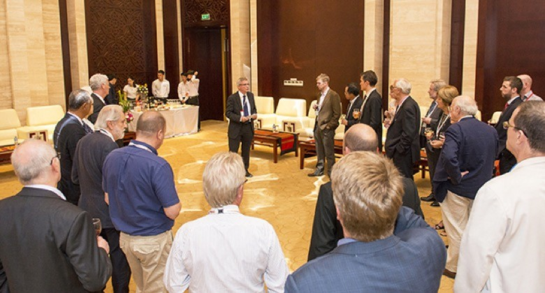 H.E. Mr D. Hugh Evans greets British chairmen, speakers, exhibitors and delegates